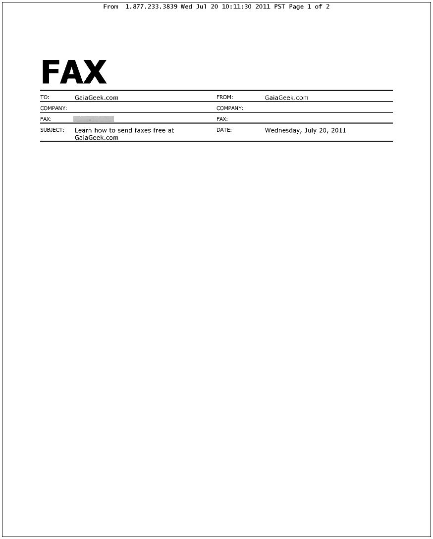 MyFax.com sample cover sheet: