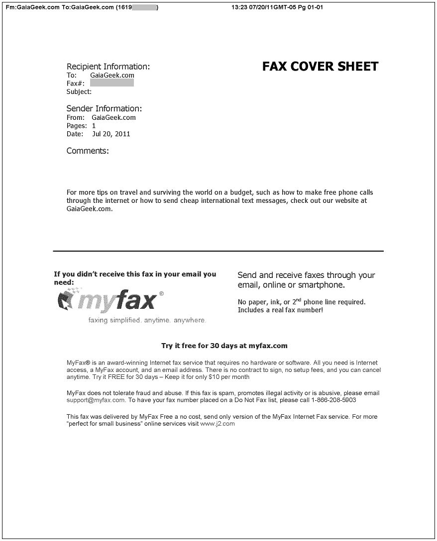 MyFax.com Cover Sheet Example