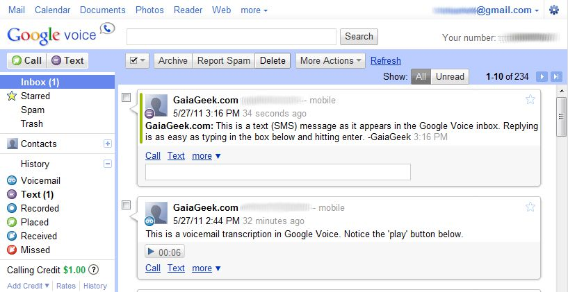 View of the Google Voice Inbox